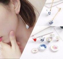 Nouveau 2 pièces Mini théière en céramique/tasse pendentif artisanat pour la fabrication de bijoux boucle doreille Bracelet collier bricolage accessoires pendentif à breloque