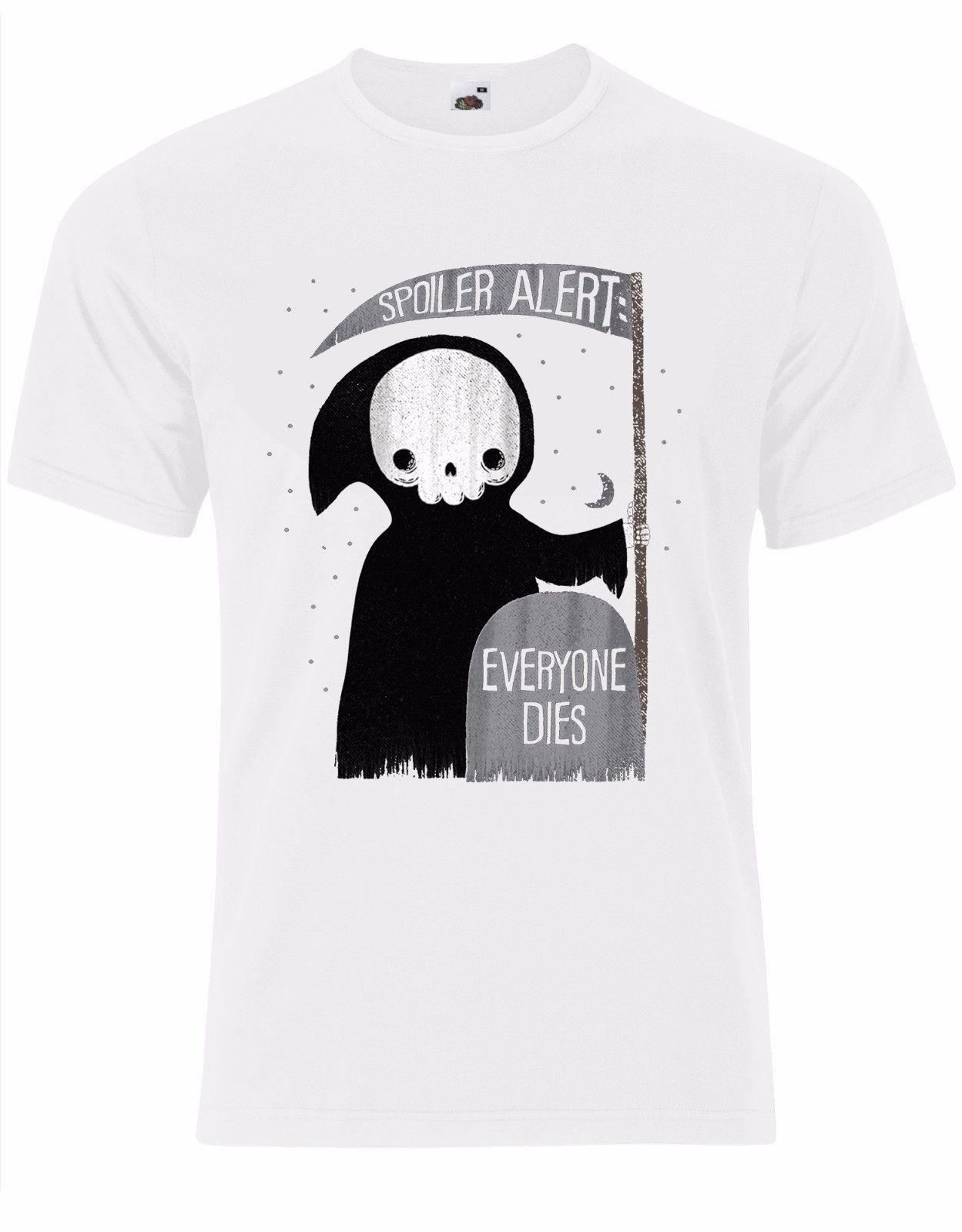 Spoiler alerta todo el mundo muere divertido Halloween muerte Grim Reaper Mens camiseta AL70 Cartoon camiseta hombres Unisex nueva moda camiseta