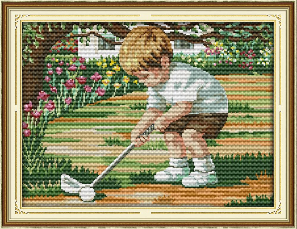 Juego de punto de cruz DMC de Joy Sunday para jugar al golf, conjunto de punto de cruz con bordado impreso