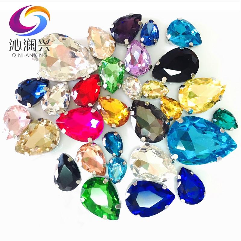 30 pçs/saco Gota Forma Mix Tamanho mistura de Cores de Vidro Pedrinhas Com Garra Sew Em Teardrop Pedra de Cristal Decoração Do Casamento