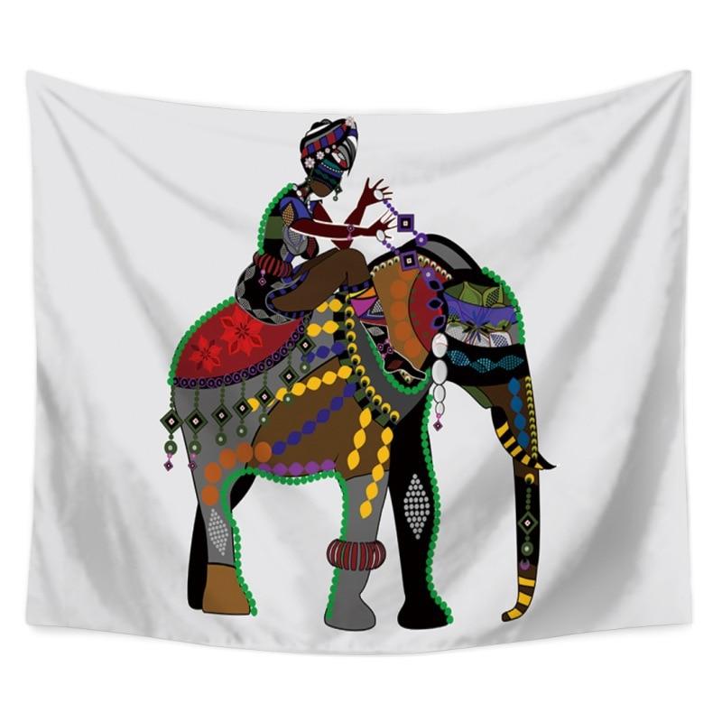 Colorido elefante tapices tela de poliéster Hippie bohemio impresión decoración del hogar tapiz colgante de pared decoración de la playa indien