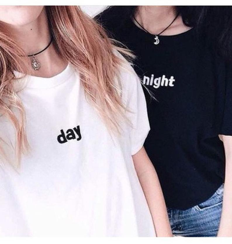 Skuggnas New Arrival Matching Day Night Couples T-shirt Cool Casual Tumblr Grunge Tee Short Sleeve Fashion tshirts