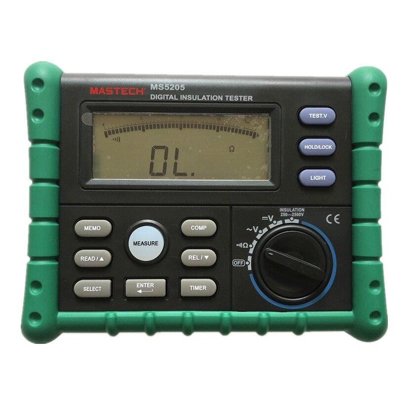 Mastech High Precision Digital MS5205 Insulation Tester Megger 100.0G MegOhm Meter DC 250/500/1000/2500V AC750V