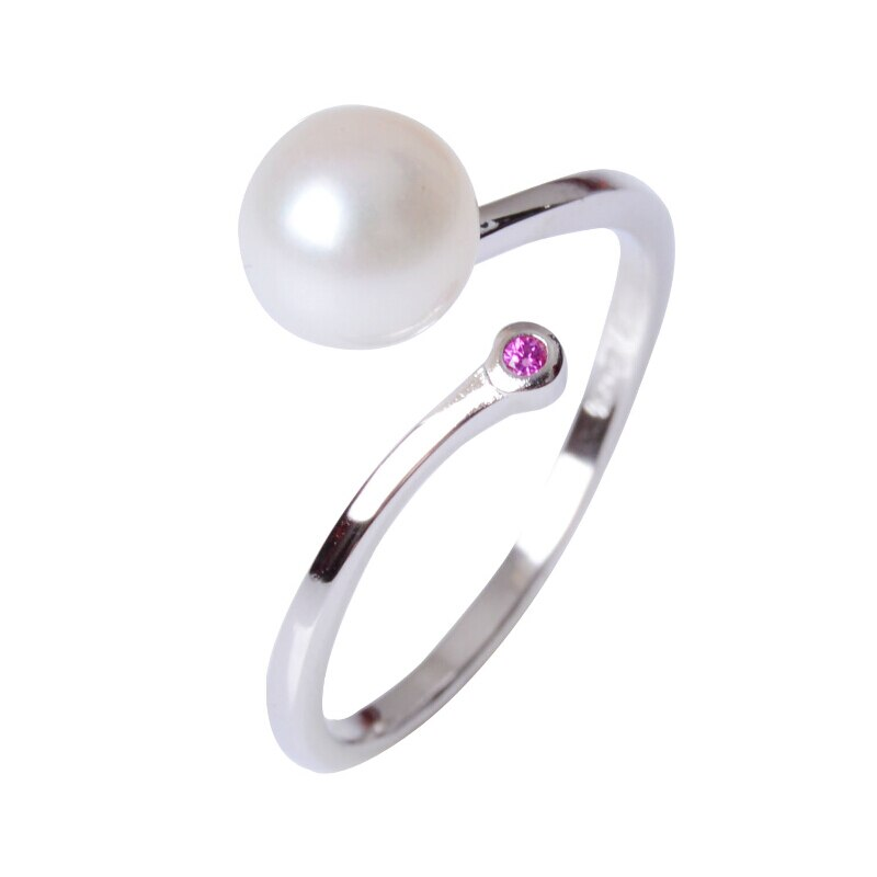 ¡Venta al por mayor! Anillos de perlas de agua dulce naturales, redondos, 925 anillos de plata esterlina para mujer de ASHIQI