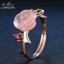 Lamoon 925 Sterling Zilveren Ring Voor Vrouwen Rose Quartz Edelsteen Rose Bloem 18K Rose Gold Plate Verstelbare Ring Sieraden LMRI025
