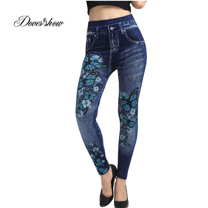 Elastic Slim Women Seamless Faux Denim Jeans Leggings Print Fleece Fitness Ankle Pencil Pants Stretchy Push up Workout Trousers