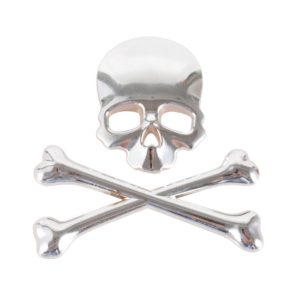 Autocollant demblème squelette   Autocollant de voiture en métal 3D, 3 couleurs, style de voiture, tête de mort, os croisés, autocollant de voiture en métal