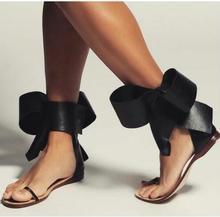 Moraima Snc mode grand Bowknot plat sandale pour femme découpes Sexy Gladiaotr chaussures côté papillon-noeud été tongs