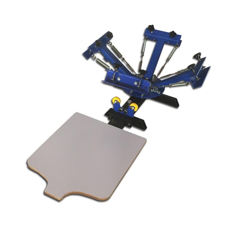 Máquina de impressão giratória da tela da estação da cor 4 do tabletop da operação da mão 1 para o vestuário