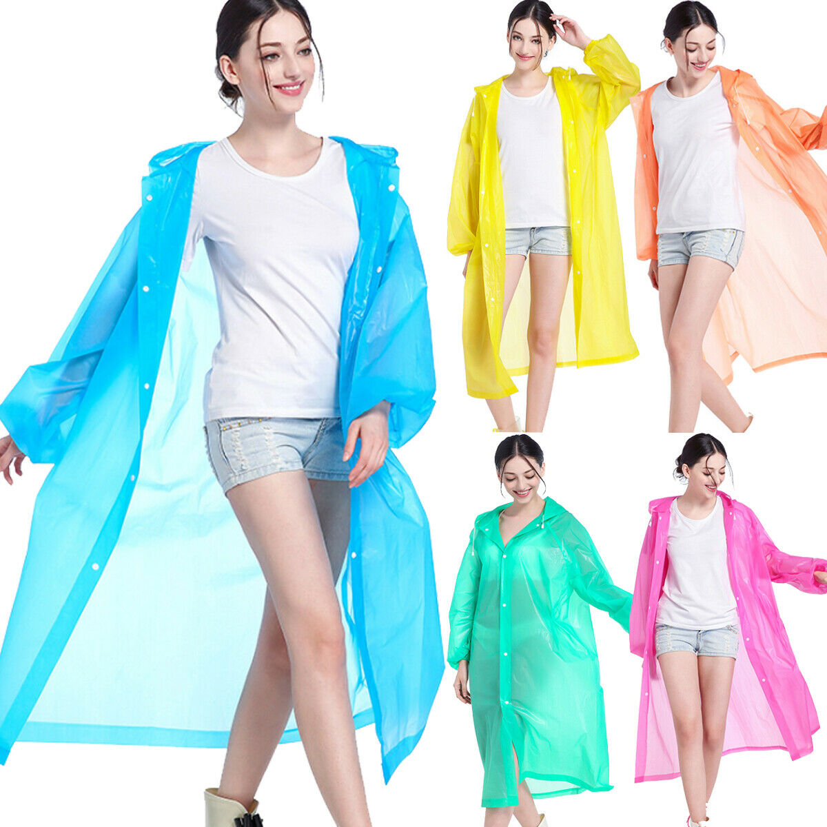 Nuevo sólido transparente lluvia EVA portátil mujeres chicas botón señora Up Coat Chic impermeable con capucha chaqueta impermeable