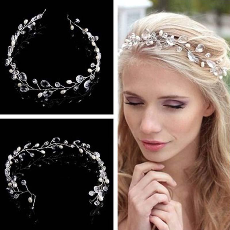 BLANCO CRISTAL diadema mujer oro accesorio del pelo perla accesorios para el cabello de boda adornos para cabello de novia cabeza tiara de la joyería joyas