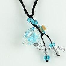 Feuille dargent vide petit verre fiole collier pendentifs aromathérapie pendentifs collier en gros fournisseur italien murano bijoux