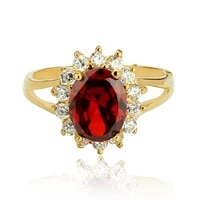 oval cut red engagement accessories yellow gold filled womens ring size 678910