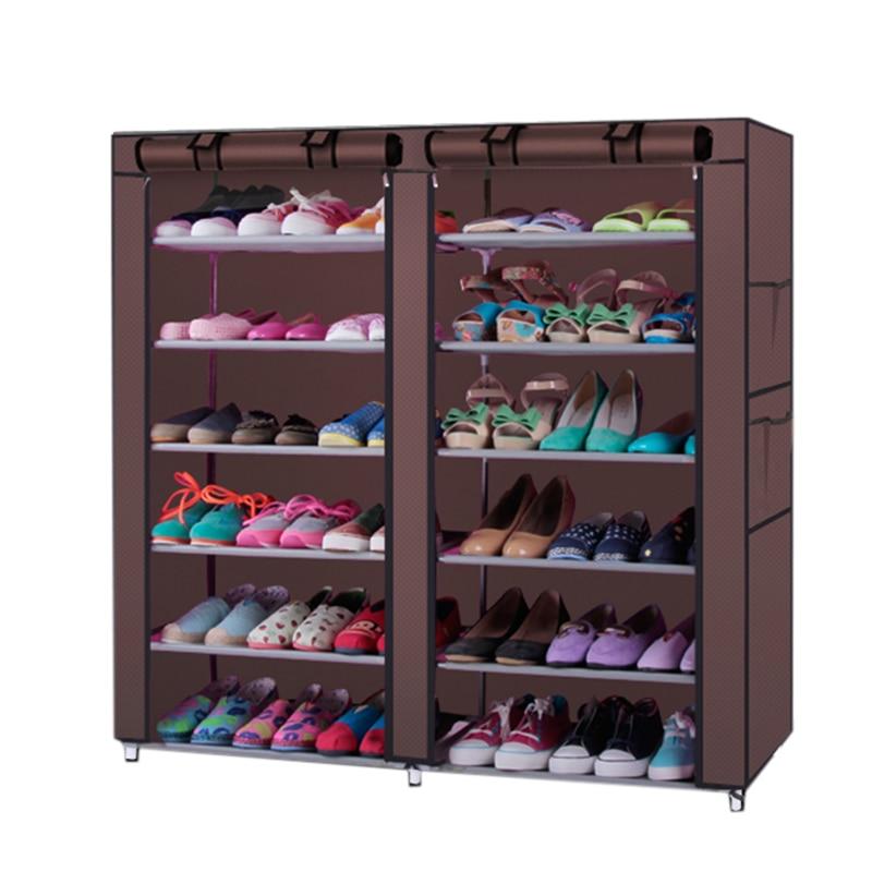 6-layer 12-grid Non-woven Fabrics Nylon Large Shoe Rack Organizer Removable Shoe Storage Furniture Shoe Cabinet Ship from US