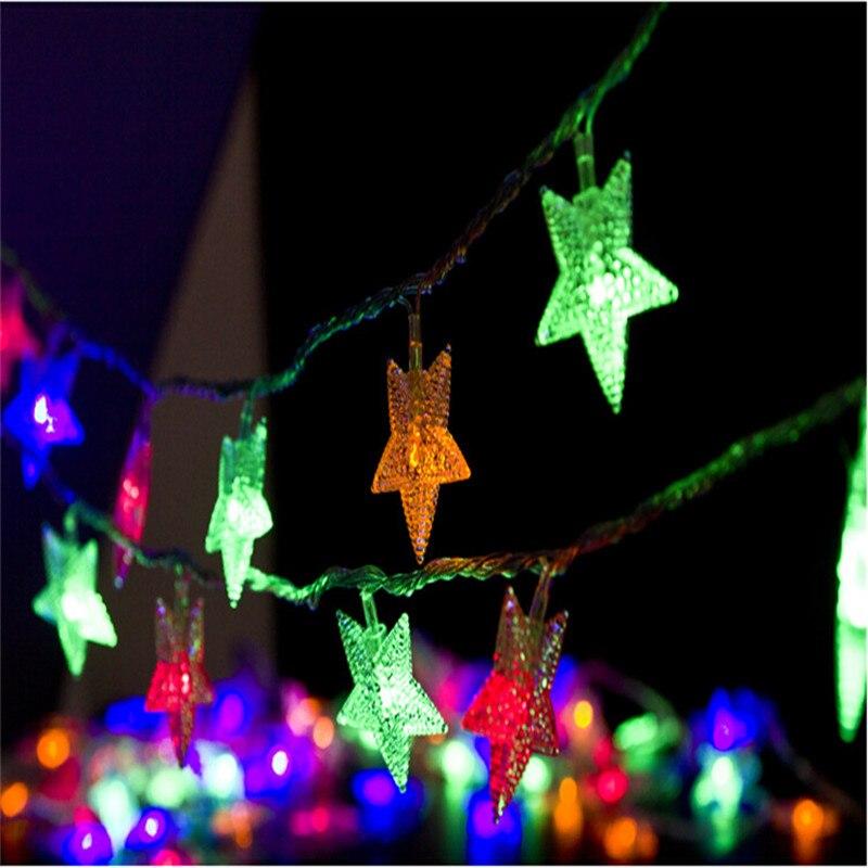 Luz de decoración de Navidad 50 LED Cadena de luz impermeable DC 4,5 V con forma de estrella Led tira de boda Garland al aire libre lámparas LED