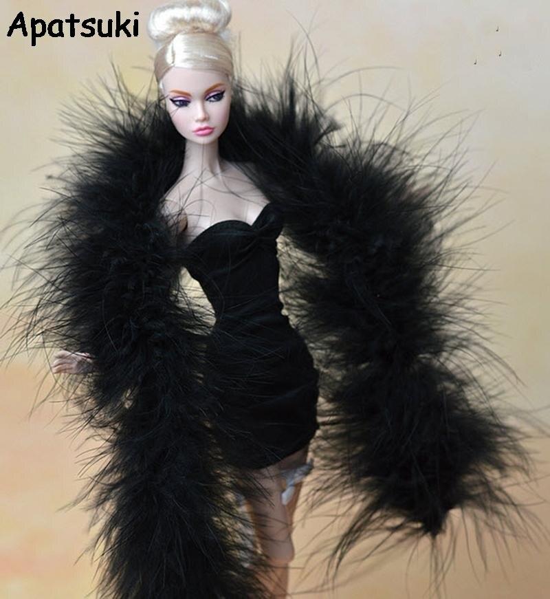 Moda preto longo de pelúcia xale pashmina para barbie bonecas acessórios para monstro alta bonecas presente do teatro da menina