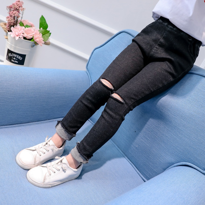 4 5 6 7 8 9 10 11 12 años Vaqueros rasgados para niñas adolescentes 2018 primavera otoño Slim Kids Denim Pant Casual Skinny Teens Pantalones