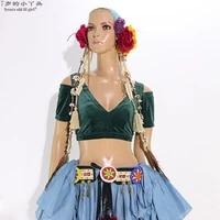 belly dance velvet top fat chance tribal choli costume short drop sleeve cjj39