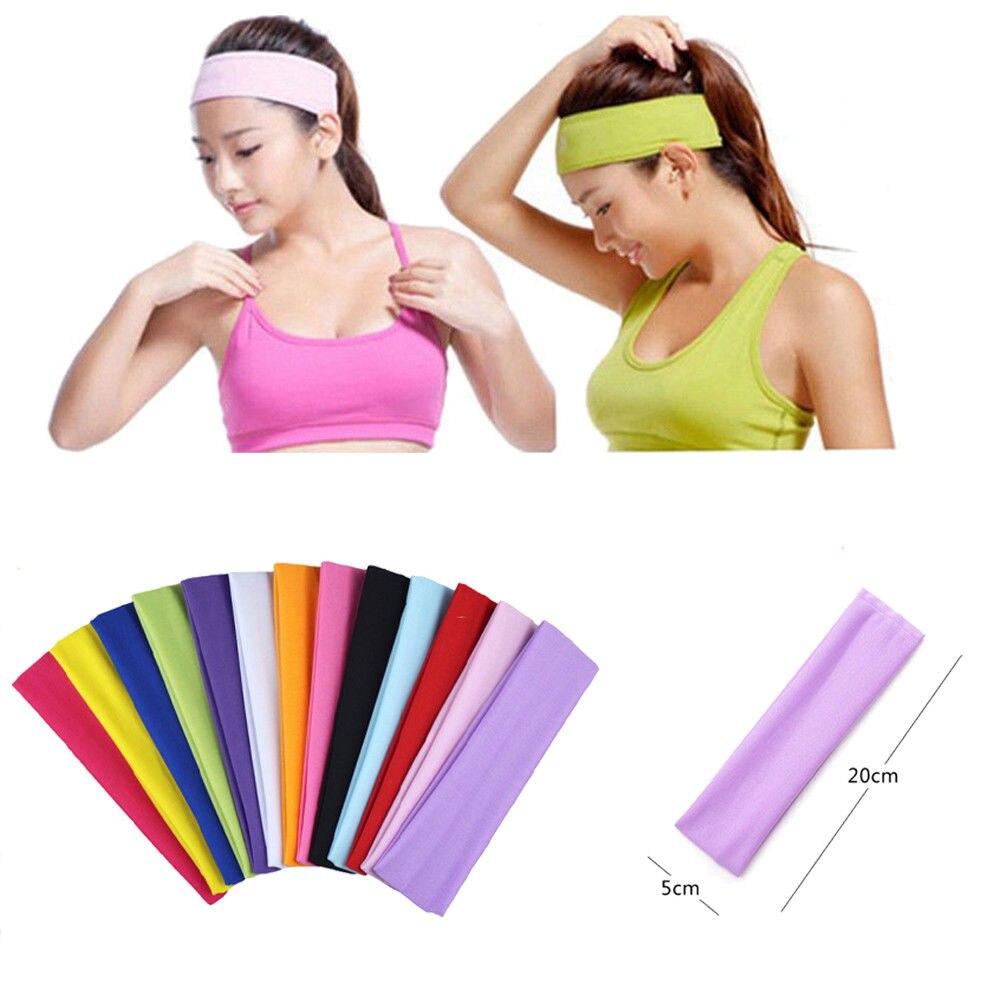 Deportes banda elástica cabello amplio gimnasio ejercicio mujeres hombres Unisex Sweatband diadema venda sólido venta al por menor venta al por mayor