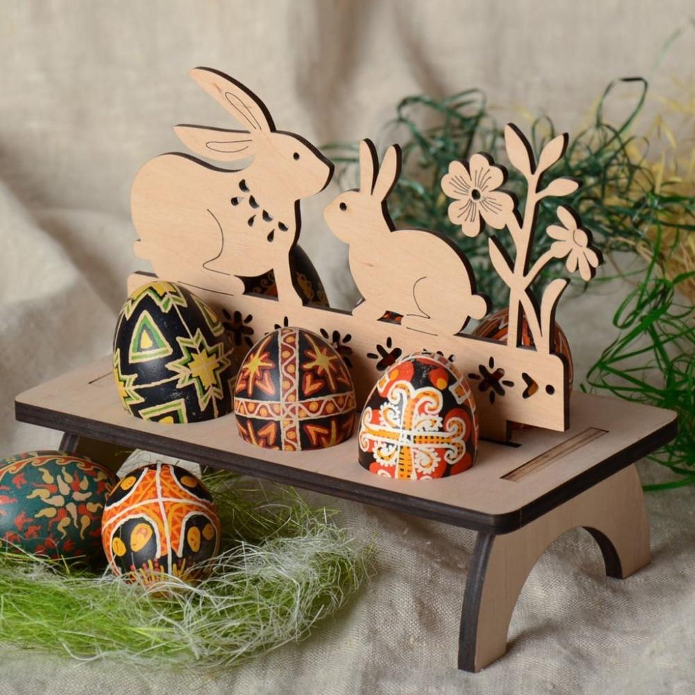 5 uds. Estante de madera para huevos de Pascua con forma de conejo, decoración para ventanas en casa, ornamento de conejo, pollito, huevo de Pascua, decoración hecha a mano para Pascua