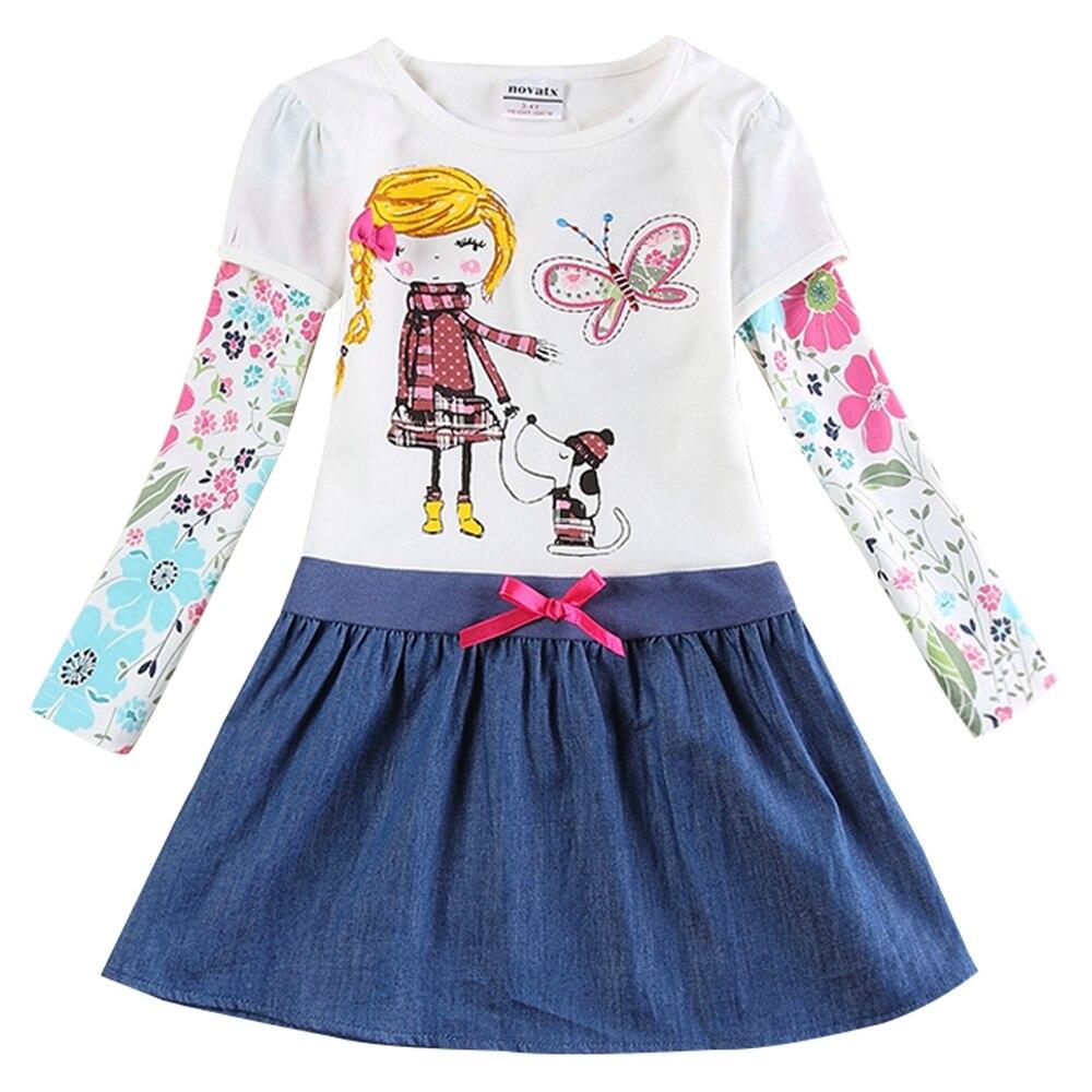 Vestido de manga larga para niña, Colección Primavera Otoño, algodón bordado, figura de niña, vestido con dobladillo vaquero H5926