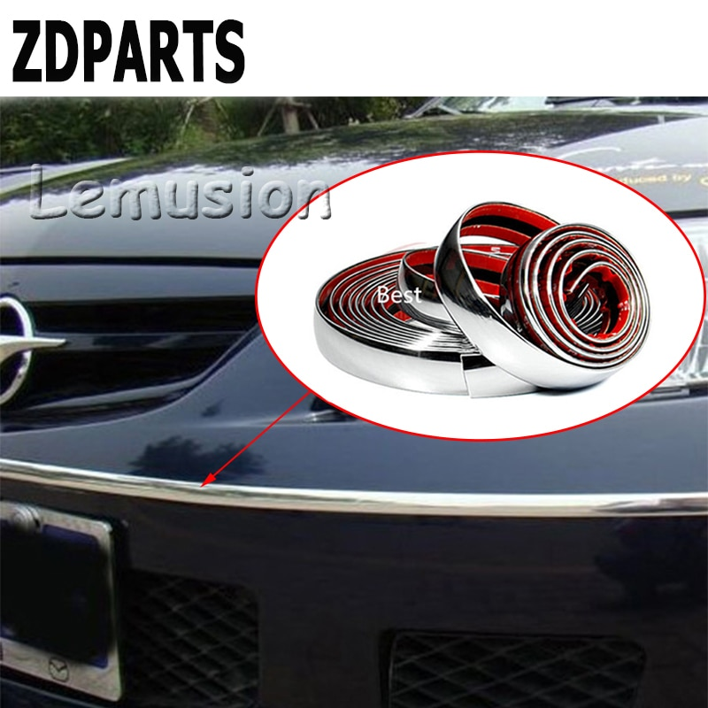 ZDPARTS 5 M, tira de moldura cromada para coche, pegatina decorativa para Renault Megane 2 Logan Captur Alfa Romeo 159 Chevrolet Cruze Jeep