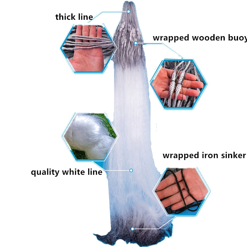 new gill net H1.2m-2.0m*L100m 3layer fish trap sticky fishing net outdoor red de pesca fishing network monofilament nylon net enlarge