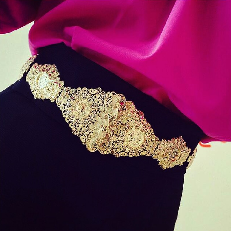 Cinturón elástico a la cintura de metal con cabeza de oro ancho grande accesorios exagerados de marca barroca joyería de moda
