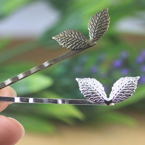 200 unids/lote latón color plata antiguo bronce/15x27mm hojas pelo Pin pelo clips DIY accesorios de la joyería