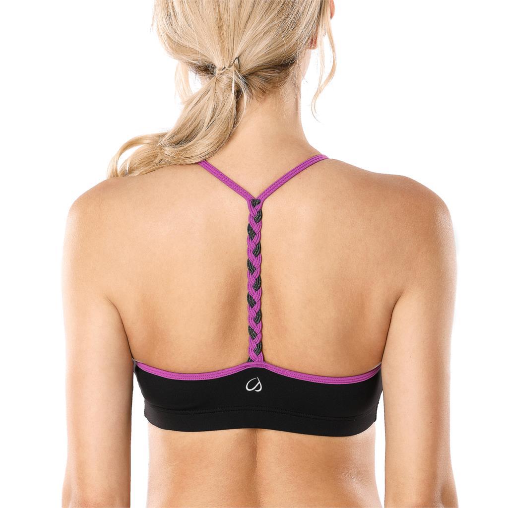 Sujetador deportivo de Yoga con espalda en T trenzada y soporte ligero para mujer