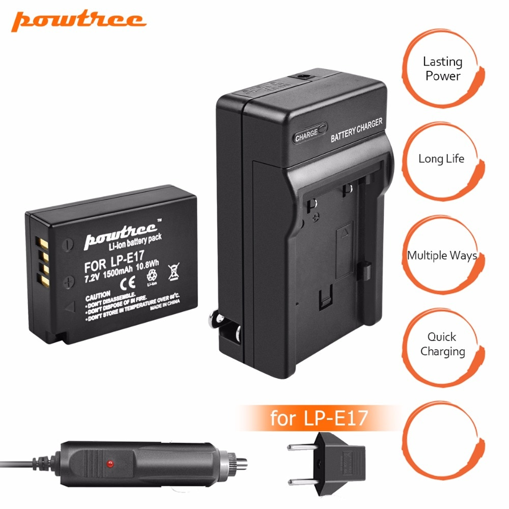 1 Uds 1500mAh LP-E17 LP E17 LPE17 batería + cargador DC + + cargador de coche para Canon EOS M3 750D 760D T6i T6s 8000D beso X8i Cámara L15