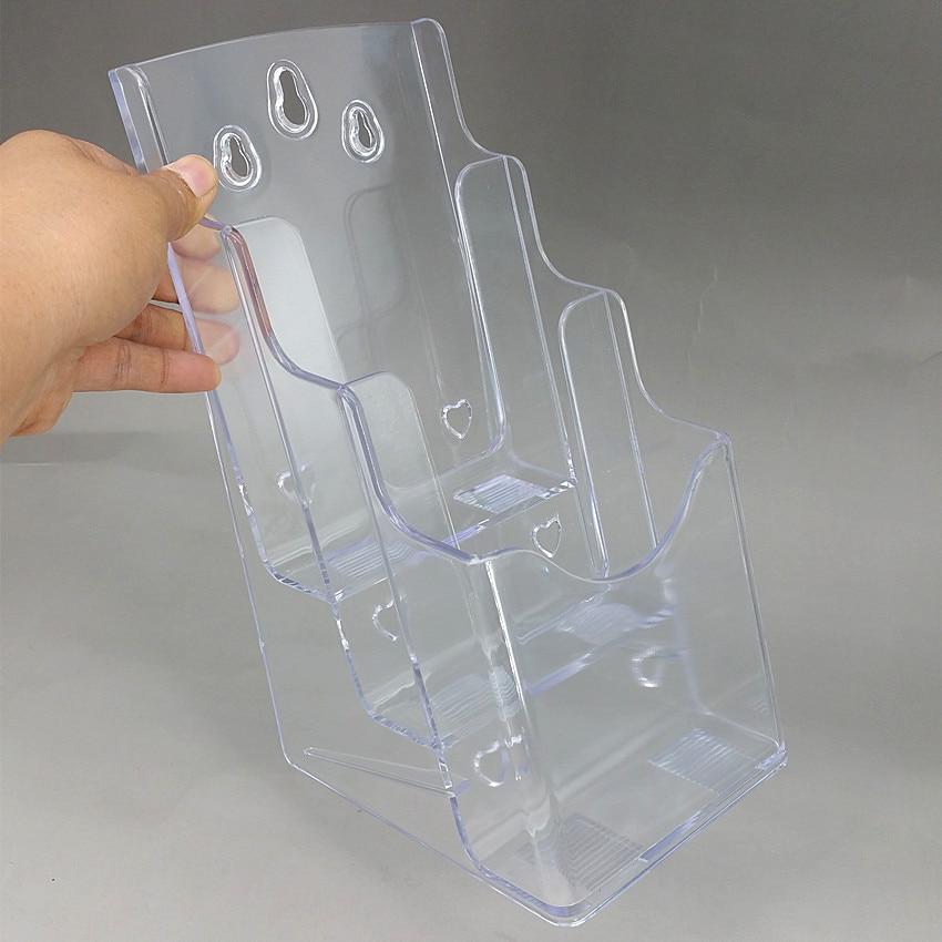 Clear A6 3 Pockets Plastic Acrylic Brochure Literature Display Holder Racks Stand To Insert Leaflet On Desktop 30pcs