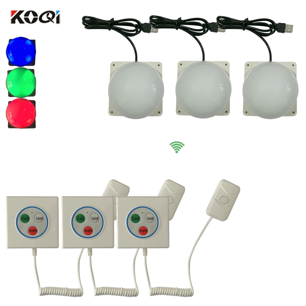 Patient Call Bell System Hotspital Nursing Home Bathroom for Elderly SOS Alarm System 3 corridor light + 3 emergency bell