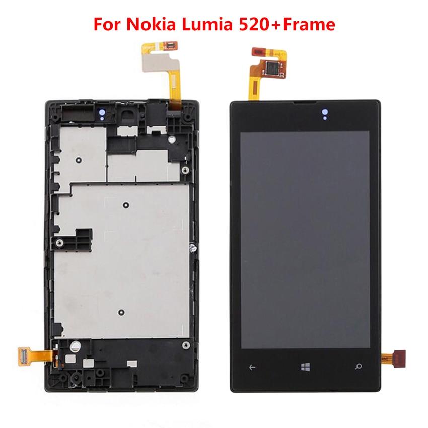 Para Nokia Lumia 520 LCD pantalla táctil digitalizador montaje Panel marco negro