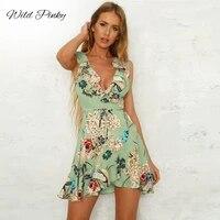 wildpinky sleeveless deep v neck beach floral ruffle tank mini casual dress women flying sleeve sundress chiffon dress vestidos