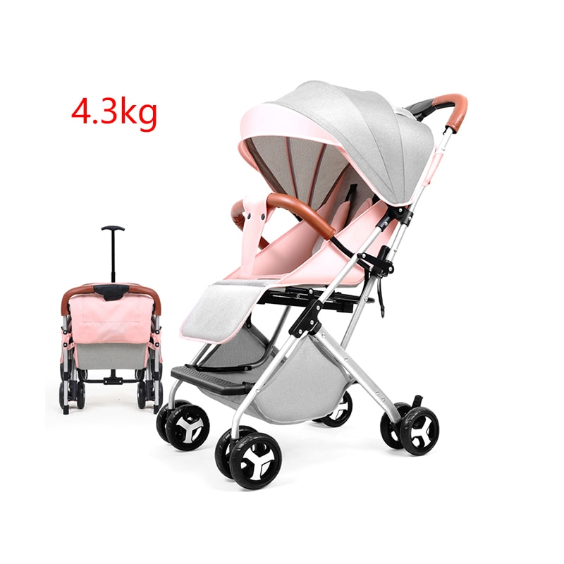 عربة أطفال خفيفة الوزن قابلة للطي ، عربة أطفال للسفر مع مظلة للجلوس والاستلقاء ، عربة بأربع عجلات ، 4.3 كجم