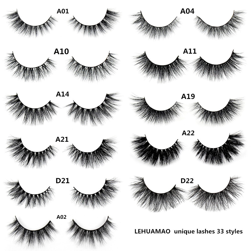 LEHUAMAO false eyelashes handmade real mink lashes fur long 3D strip thick fake faux mink eyelashes Makeup beauty tool A19 недорого