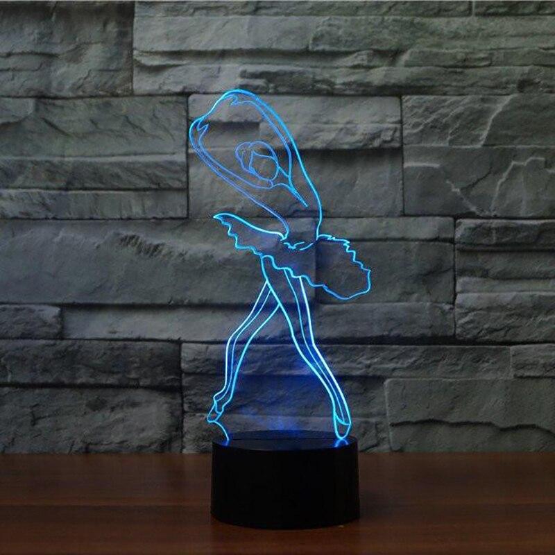 Decoración interior novedosa bailarina NightLight 3D Ballet chica LED lámpara de mesa niños regalo Navidad iluminación de dormir para bebé accesorio