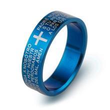 Klasik İncil iç içe yüzük 316L Titanyum Çelik Takı Serin baba Fr. Parmak Yüzük mavi kadın erkek Üç Renk