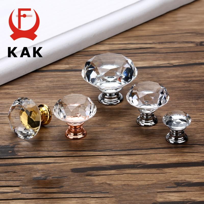 KAK-Pomos de cristal con forma de diamante, de diseño, 20-40mm, tirador de cajón de armario, cocina, puerta, hardware