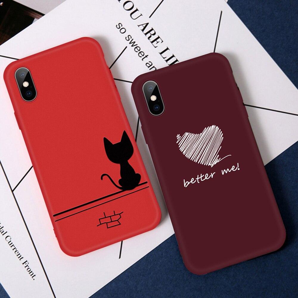 Vino rojo corazón teléfono carcasa para iPhone 6 6s 7 8 Plus XS Max gatos cubierta suave de TPU para iPhone XR X 10 8 7 Plus 5 S 5 S SE Coque