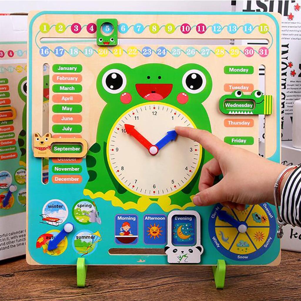 Brinquedo de madeira Dos Desenhos Animados do Calendário Multifunction 7 em 1 Pendurado Crianças Sapo Relógio Data Gráfico de Tempo Cedo Aprendendo Brinquedos Educativos