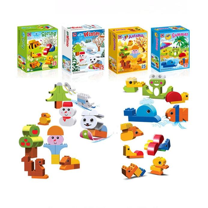 Bloques de construcción compatibles con Duplo 25 uds, partículas grandes, cuatro estaciones, primavera, verano, otoño e invierno, juguetes educativos para niños Bri