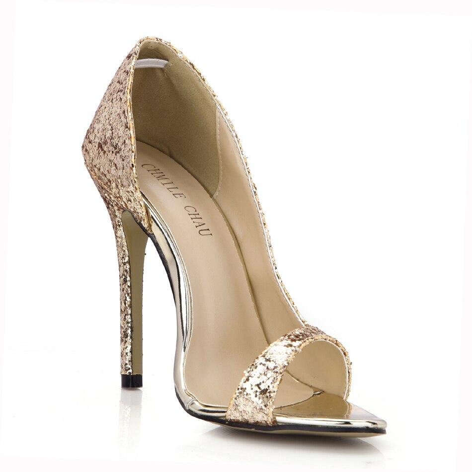 Zapatos de tacón de aguja con purpurina Para Mujer, calzado de tacón Alto Para Novia o Dama, YJ0640C-Q2