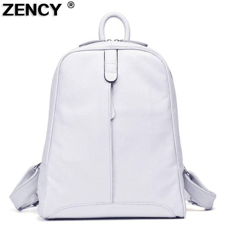 ZENCY Women 100% Full Top Genuine Real Cow Leather Real Cowhide White Gray Beige Pink Backpacks Ladies's Schoolbag Teenagers Bag