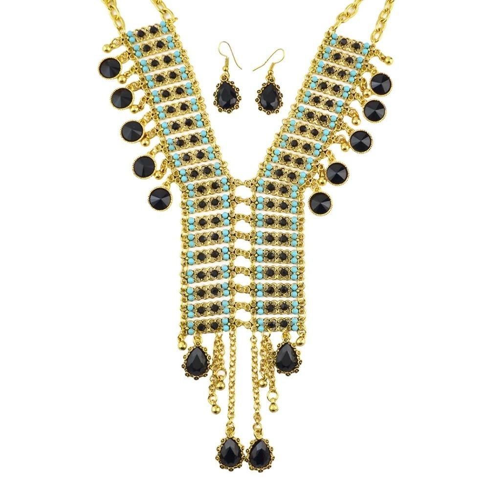 Bohemian Ethnic Jewelry Sets Long Tassel Crystal Earrings Egyptian African Black Blue Resin Bead Big Choker Necklace For Women