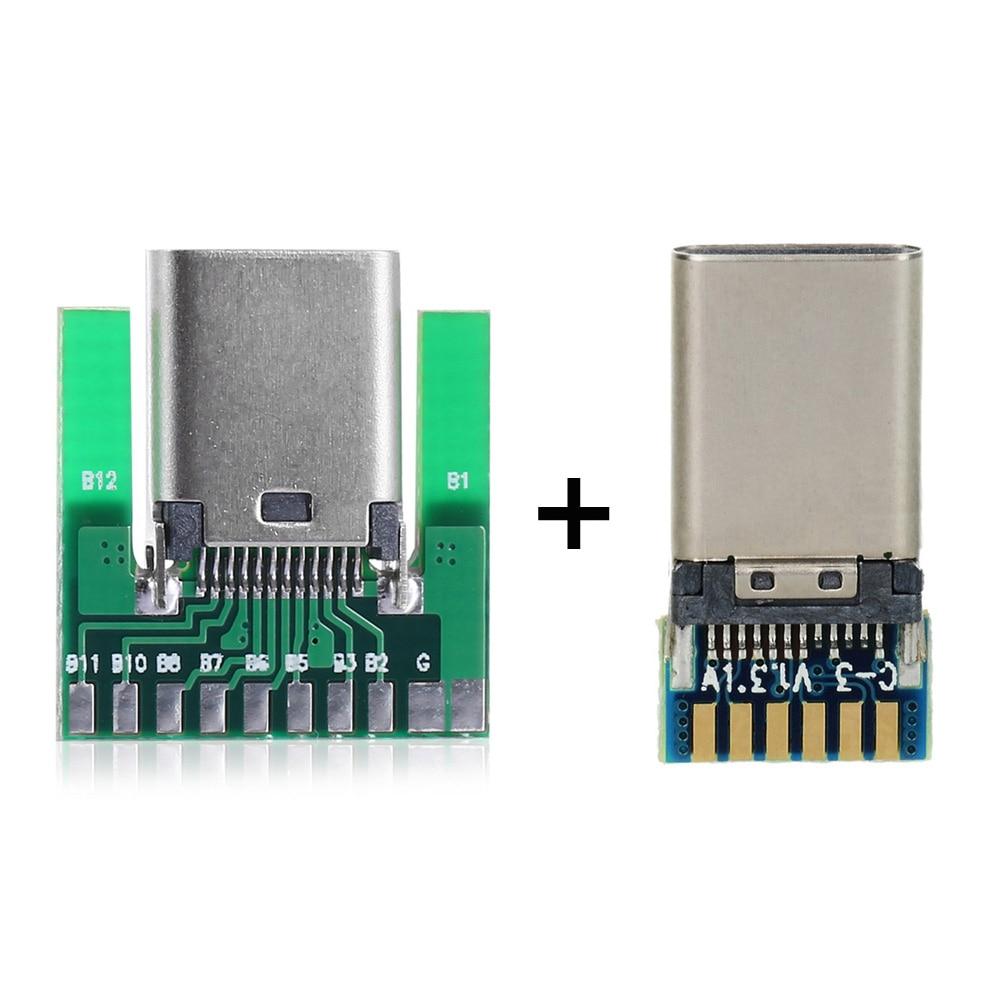 Cablecc diy 24pin usb 3.1 tipo c USB-C macho tomada fêmea conector smt tipo com pwb com 56 k resistor para carregador de dados