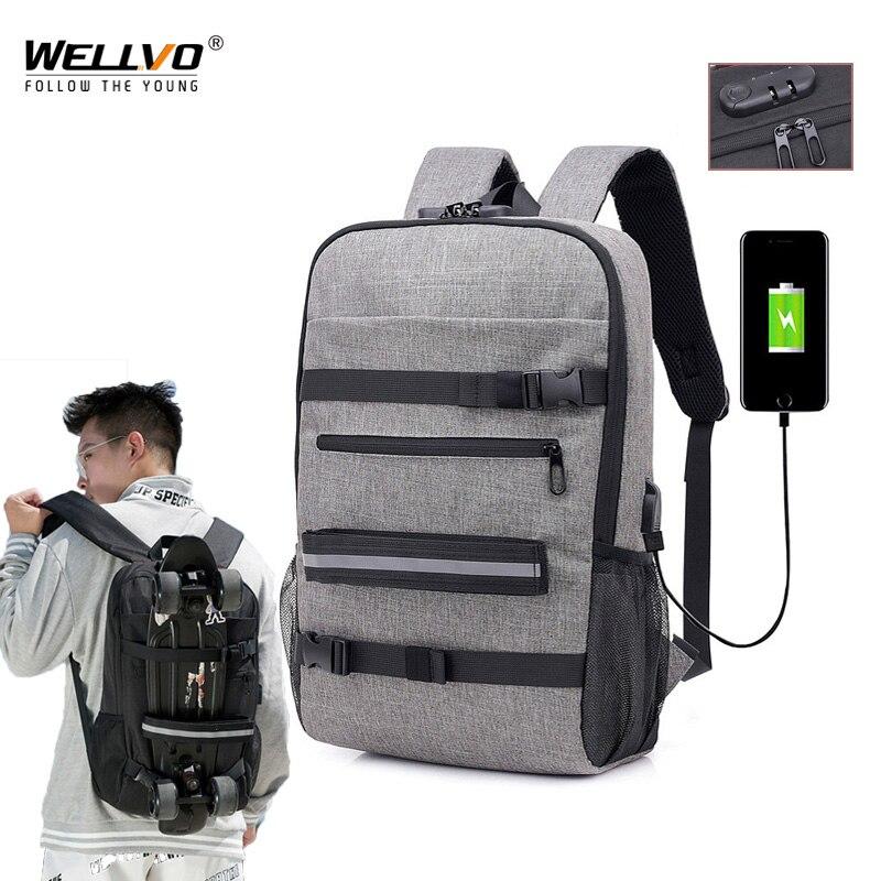 Sac à dos imperméable pour hommes   Sac à dos Anti-vol pour ordinateur portable chargeur USB pour adolescents garçons, sac de Skateboard