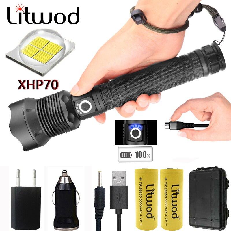 Litwod Z201282 CREE Original  XLamp XHP70 & XHP50 high powerful Tactical LED flashlight torch light 18650&26650 Battery Lantern
