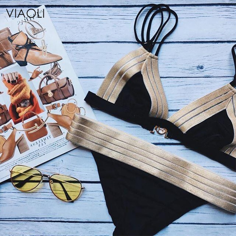New Sexy Vintage Bikini Set Halter Black Gold Spliced Design Women Swimsuit Female Beach Retro Swimwear Bathing Suit Biquinis
